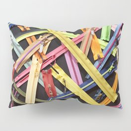 Zippers for clothes on black Pillow Sham