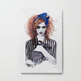 Miss Emma & Her Bunny Metal Print