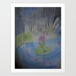 Cave with magical flower Art Print