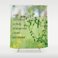 jane austen Shower Curtains featuring Jane Austen Refreshment by KimberosePhotography