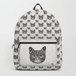 Swirly Cat Portrait (b/w) Backpack