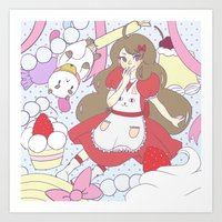 bee and puppycat Art Prints featuring Bee & puppycat ver 1 by Kurodoj
