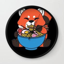 red Panda Ramen Soup Noodle box Cute Kawaii Pun Wall Clock