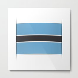 Flag of Botswana. The slit in the paper with shadows.  Metal Print