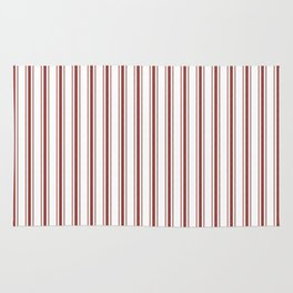 Vintage New England Shaker Barn Red Milk Paint Mattress Ticking Vertical Wide Striped Rug