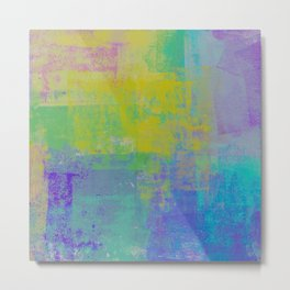 Grungy Turquoise, Green, Purple and Yellow Abstract Metal Print