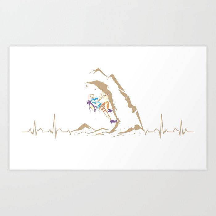 Climbing Climber Mountaineer Mountain Heartbeat Art Print