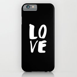 LOVE Wall Art Home Decor in Black-and-White Ink Modern Typography Poster Graphic-Design Minimalism iPhone Case