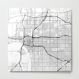 Tulsa Map, USA - Black and White Metal Print