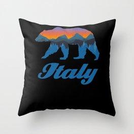 Vintage Italy Bear Sunset Mountain Tree Silouhette Throw Pillow