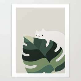Cat and Plant 12A Art Print