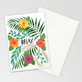 Relax - Tropical Watercolor floral Stationery Cards