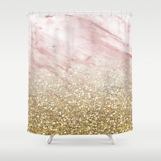 Rose Gold Marble Sunset Gradient Shower Curtain By Peggie