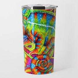 Psychedelizard Colorful Psychedelic Chameleon Rainbow Lizard Travel Mug