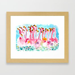 Welcome to Miami - Flamingos Illustration Framed Art Print