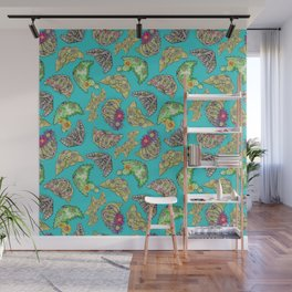 """""""Oro?"""" Cactus with Flower Teal Wall Mural"""