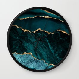 Modern Teal & Gold Agate Abstract Design Wall Clock