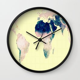 World Map : Gall Peters Pastel Wall Clock