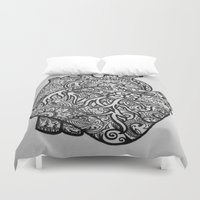 anatomical heart Duvet Covers featuring Anatomical Heart Zentangle by isabellat