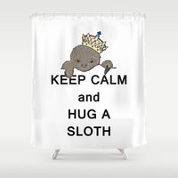 meme Shower Curtains featuring Keep Calm and Hug a Sloth with Crown Meme by The Eclectic Mind