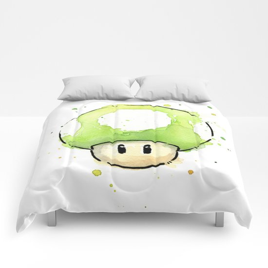 1UP Green Mushroom Painting Mario Gaming Geek Videogame Art Comforters