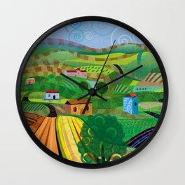 Santa Barbara Wine and Cheese (Square) Wall Clock