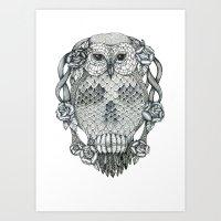 owl&skull Art Print
