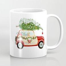 Vintage Christmas car with tree red Mug