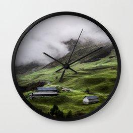 Luscious green mountain views in Switzerland Wall Clock
