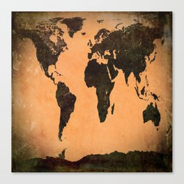 Grungy Abstract World Map Canvas Print