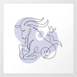 Capricorn Single line Zodiac sign Art Print