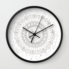 Mandala with Full Moon and Constellations Illustration Wall Clock