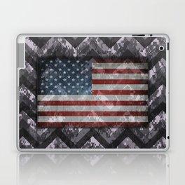 Periwinkle Purple Digital Camo Chevrons with American Flag Laptop & iPad Skin