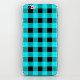 Blue Topaz and Black Check iPhone Skin