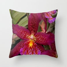 Rose Madder Orchids Throw Pillow