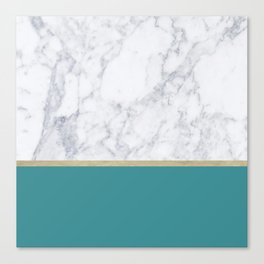 Teal Marble Gold Canvas Print