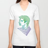 stiles V-neck T-shirts featuring Watercolor Stiles by Liz Swezey