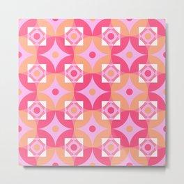 Circle and squares mosaic pattern in pink and orange Metal Print