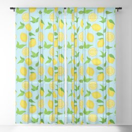 Summer Lemons Pattern - Yellow and Pastel Blue Palette Sheer Curtain