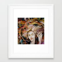 hat Framed Art Prints featuring hat by Eva Lesko