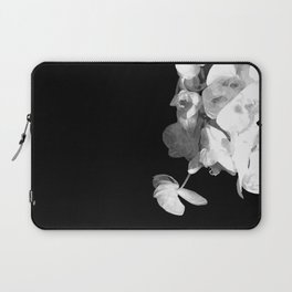 White Orchids Black Background Laptop Sleeve