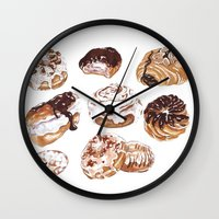 donuts Wall Clocks featuring Donuts by heatherinasuitcase