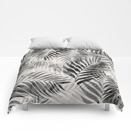 Palm Leaves - Black & White Comforters