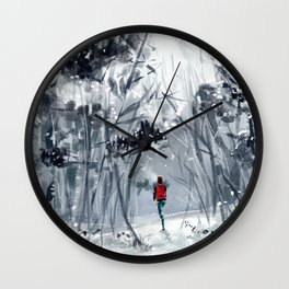 Snowy forest Wall Clock