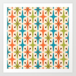 Mid Century Modern Abstract Star Pattern 441 Orange Brown Turquoise Chartreuse Art Print