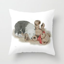Teddy's Best Friend Throw Pillow