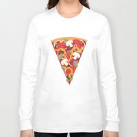 miles davis Long Sleeve T-shirts featuring PIZZA POWER - VEGO VERSION by Daisy Beatrice