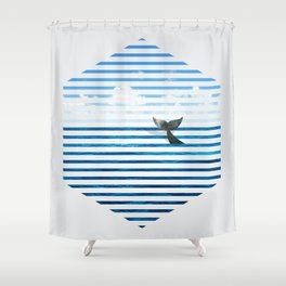 Whale you dive with me? Shower Curtain