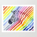 Zebra Rainbow Stripes Colorful Whimsical Animal by olechka