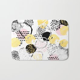 Amalia - gold abstract black and white glitter foil art print texture ink brushstroke modern minimal Bath Mat